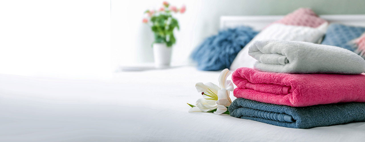 colorful stack of folded towels